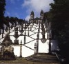 The famous staircases at Bom Jesus do Monte (1723-1837), on Mount Espinho, near Braga, constitute the Calvary of a pilgrim church devoted to the Holy Cross. The stations of this spiritual Golgotha lead up to the church terminated in 1811 by Cruz Amarante, substituting the original, circular sanctuary. Braga, Portugal.