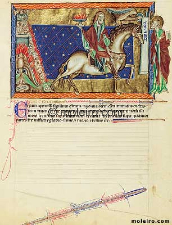 f. 10v, The fourth seal: The rider on the pale horse, Gulbenkian Apocalypse