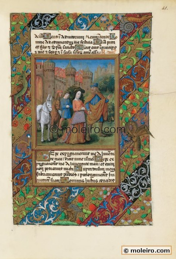 f. 41r, Tobias and Sarah abandon Echatana. This illustration that depicts one of the episodes in the tale of Tobias depicted lea...
