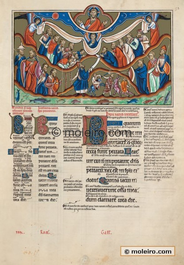 f. 53r, psalm 31 Blessed are they whose iniquities are forgiven. This is one of the penitential psalms in which men confess thei...