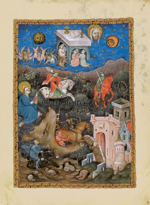 f. 7r, The Four Horsemen of the Apocalypse. John sits against the left frame while he watches the events of chapter 6 unfold bef...