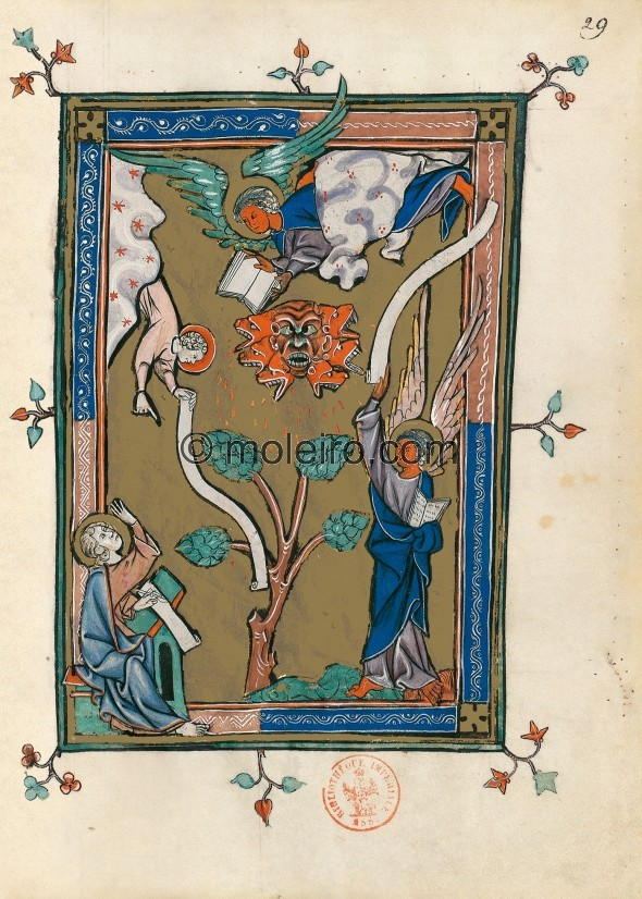 f. 29r, Der auf der Erde und dem Meer stehende Engel (Offb 10, 1-7), Apokalypse 1313