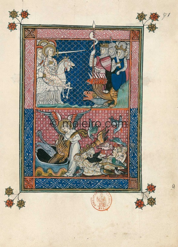 "f. 71r, Continuation of the battle and capture of the Beast (Ap. 19, 19-21). The mounted, heavenly army led by the ""ho..."