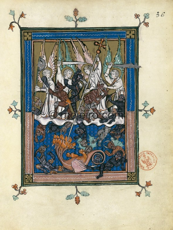 f. 36r, A great battle in heaven (Revelation 12: 7-12a). Upon the clouds in front of a golden sky symbolising timelessness, stan...