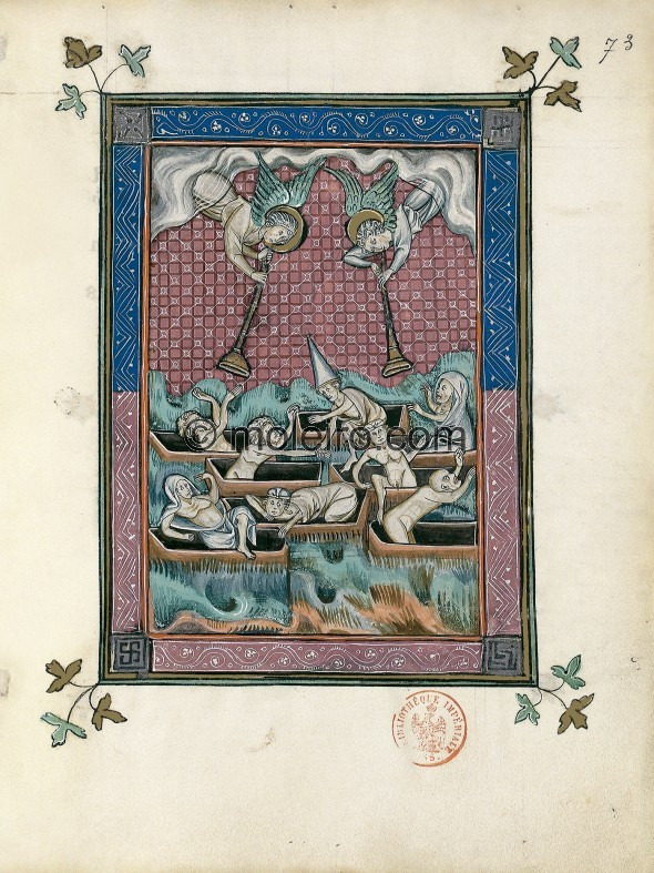 f. 73r, The first resurrection (Revelation 20: 4-6). Christ's faithful emerge from their graves, thrown up by the eart...