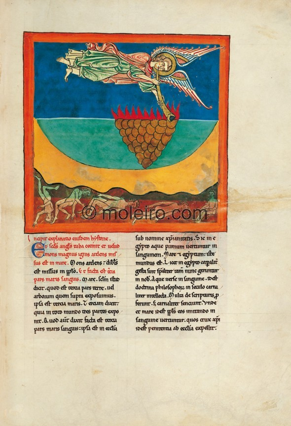 f. 96r, The angel with the second trumpet: the burning mountain is cast into the sea. The square-shaped illustration, undoubtedl...