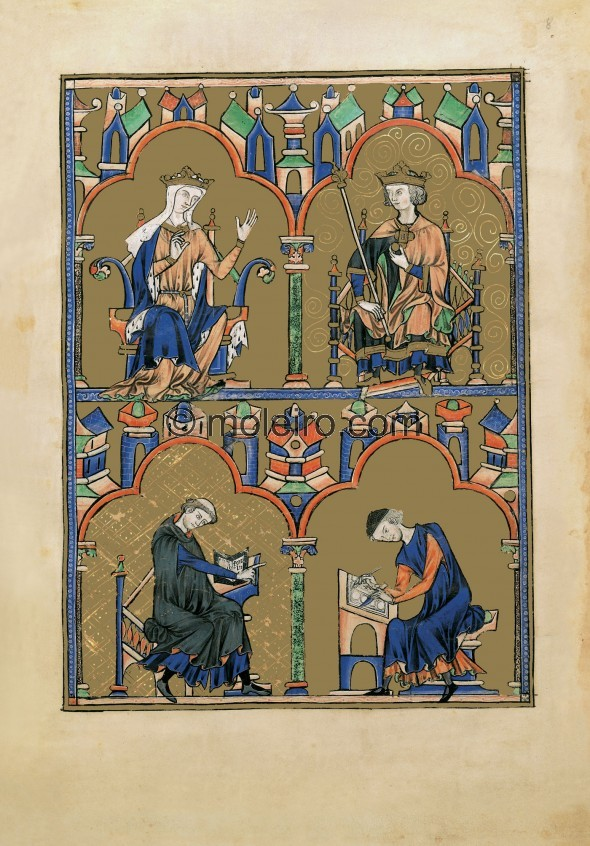 Bd.3, f. 8r. Volume III, folio 8r This page depicts four figures, two larger ones in the top scene and two smaller ones in the b...
