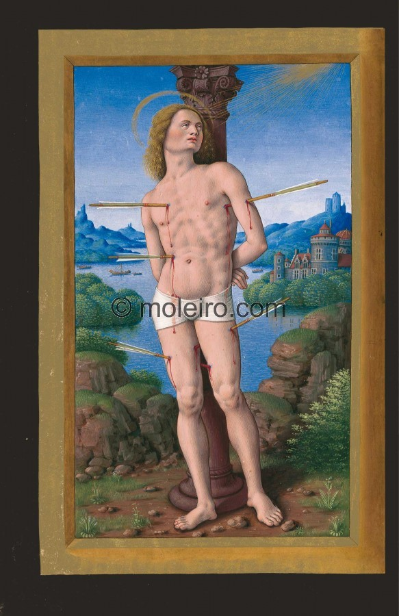 Saint Sebastian, f. 175v. According to the legend, Saint Sebastian became the captain of emperor Diocletian's praetori...