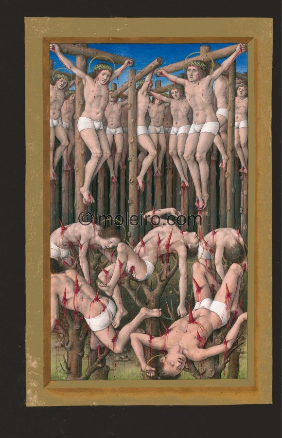 Of the ten thousand martyrs, f. 177v. The painting is divided into two parts. Depicted in the lower section are five men cast up...