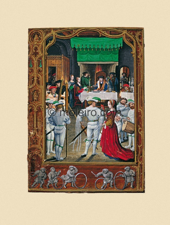 f. 19v, February, feast. The main miniature features an indoor scene with a noble couple sitting at a table in the foreground su...