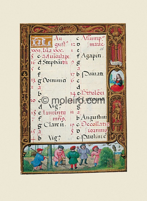 f. 26r, Calendar, august. The bottom border on f. 26r shows five children catching birds. Some carry them in cages, some are tak...