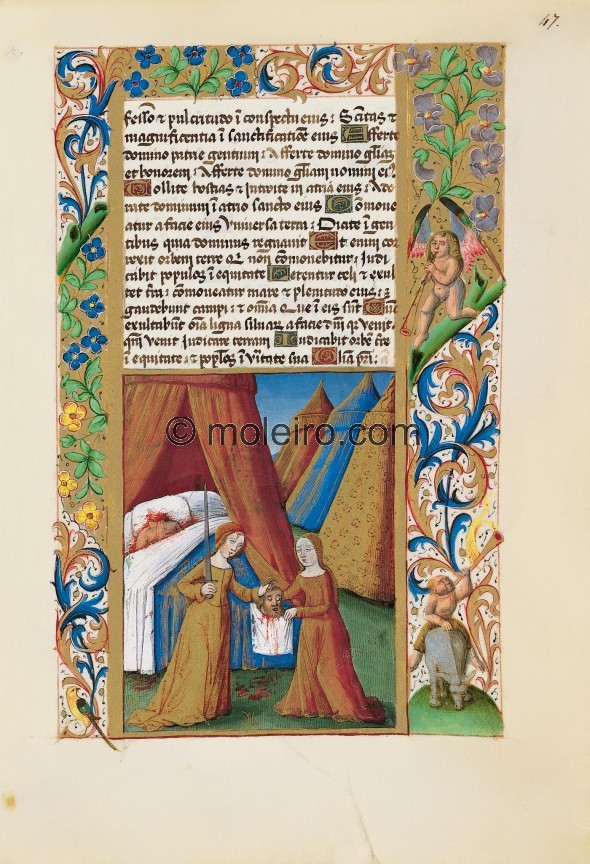 f. 47r, Judith gives her servant Holofernes's head. The scene is quite simple and shows a field with four tents, one o...