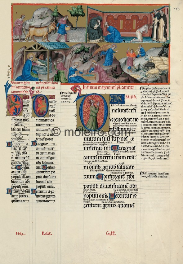 f. 113r, psalm 66 May God have mercy on us and bless us. Psalm 66 opens with a sowing scene in reference to the fruit the earth ...