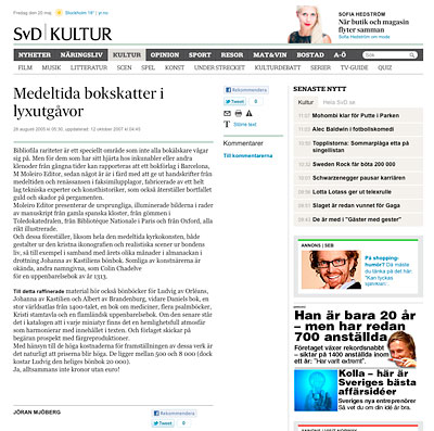 Medeltida bokskatter i lyxutg�vor<br>Middle Age book treasures as luxury editions