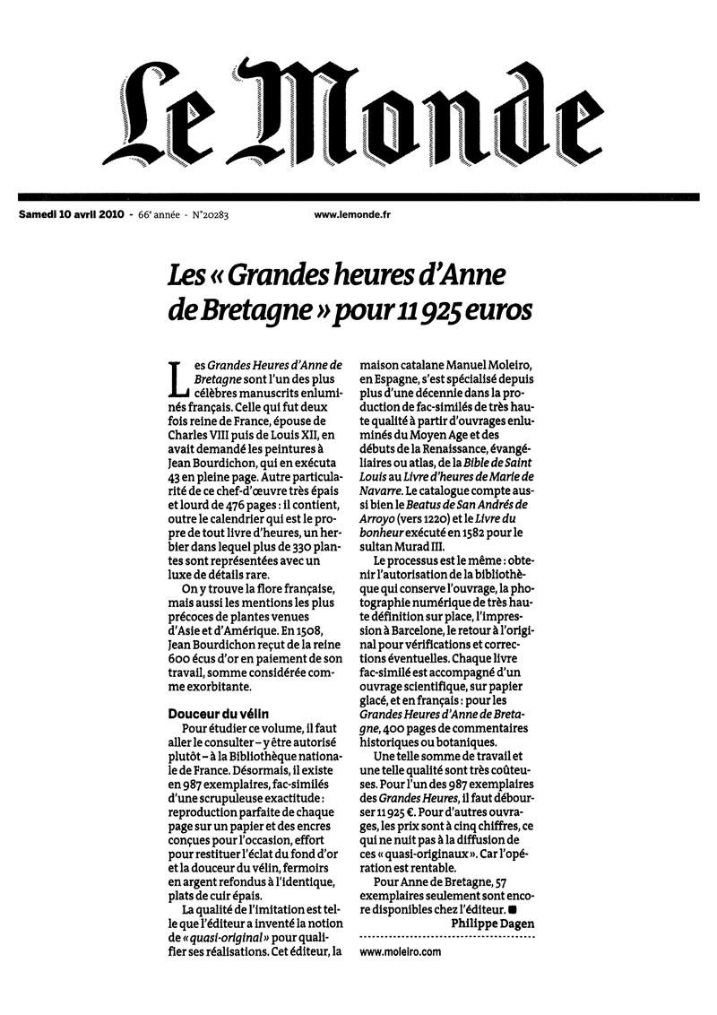 Les « Grandes heures d'Anne de Bretagne » pour 11 925 euros