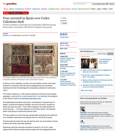 Four arrested in Spain over Codex Calixtinus theft