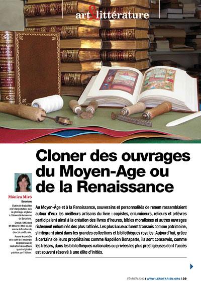 Cloner des ouvrages du Moyen-Age ou de la Renaissance