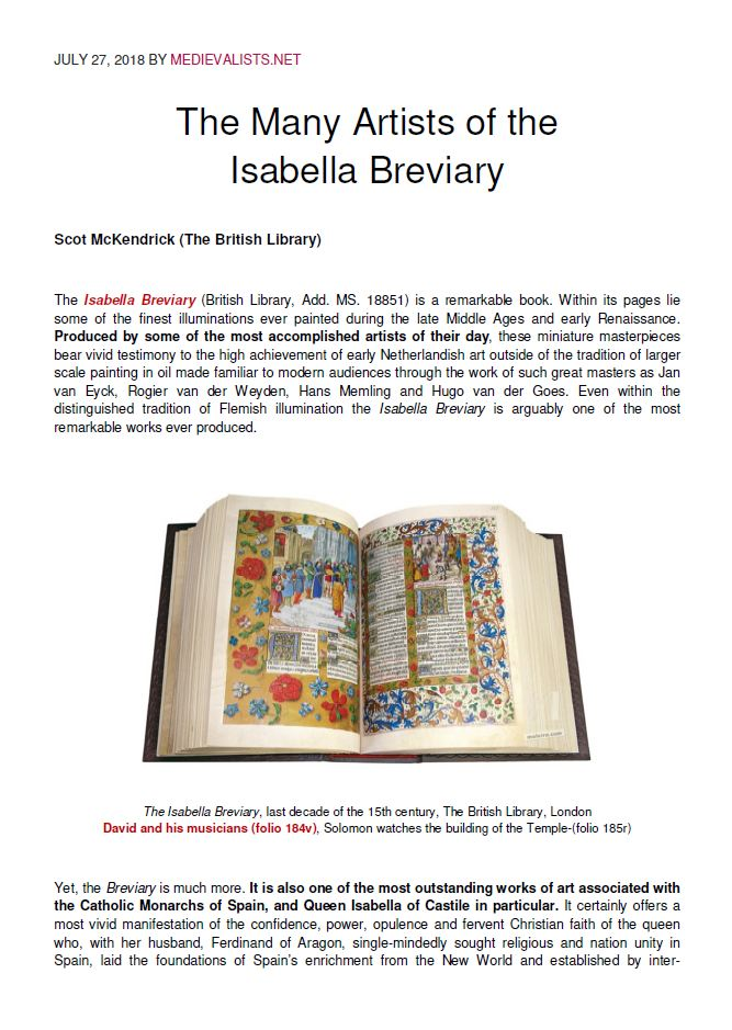 The Many Artists of the Isabella Breviary