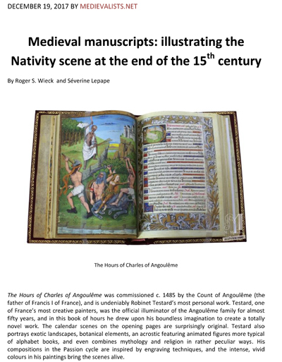 Illustrating the Nativity scene at the end of the 15th century