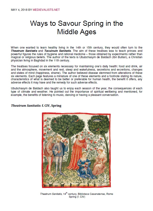 Ways to Savour Spring in the Middle Ages