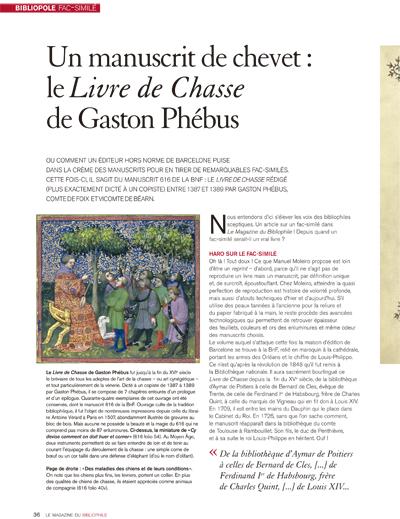 Un manuscrit de chevet: le Livre de Chasse de Gaston Phébus<br /> LE MAGAZINE DU BIBLIOPHILE